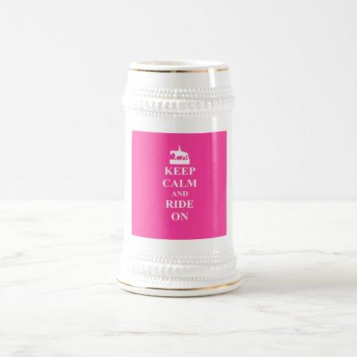 Keep calm & ride on (pink) mugs