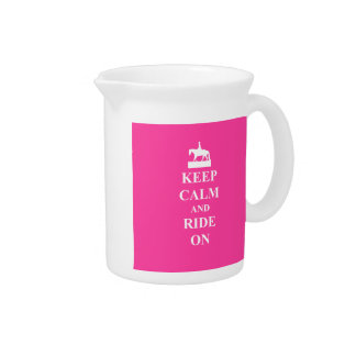 Keep calm & ride on (pink) pitcher