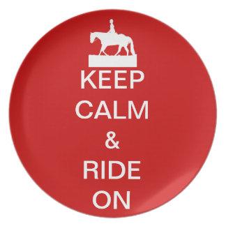 Keep calm & ride on plate