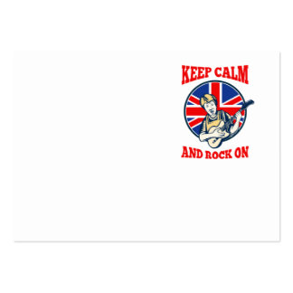 Keep Calm Rock On British Flag Queen Granny Guitar Pack Of Chubby Business Cards