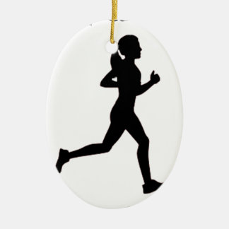 Keep calm & run on ceramic oval decoration