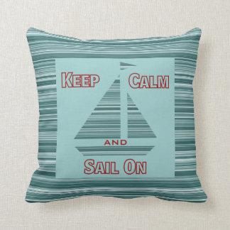 Keep Calm & Sail On Throw Pillow