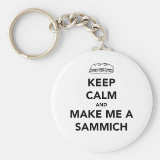 KEEP CALM; SAMMICH TIME BASIC ROUND BUTTON KEY RING