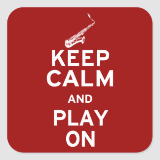 Keep Calm Saxophone Square Stickers