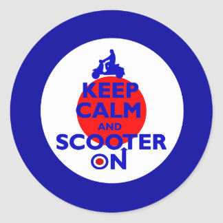 Keep Calm Scooter on Mod target Classic Round Sticker