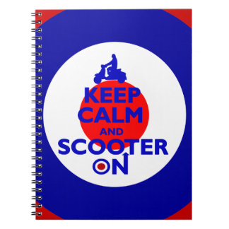 Keep Calm Scooter on Mod target Spiral Notebook