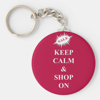 keep calm & shop on basic round button key ring