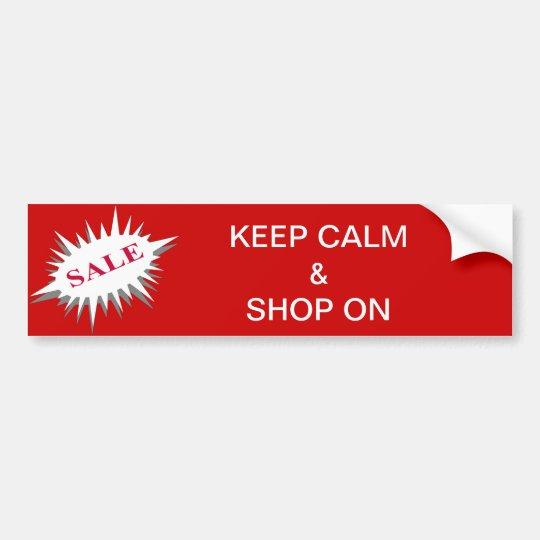 keep calm & shop on bumper sticker