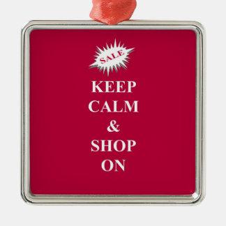 keep calm & shop on christmas ornament