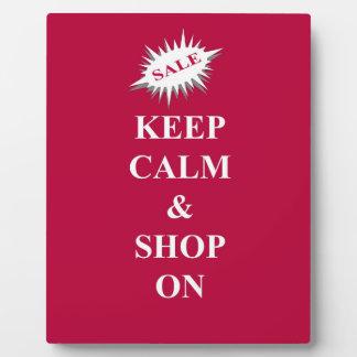 keep calm & shop on plaque