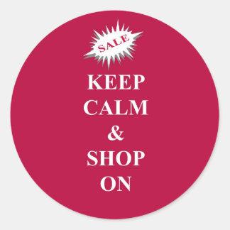 Keep calm & shop on round sticker