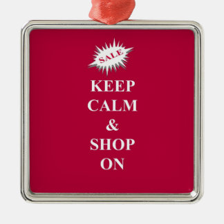 keep calm & shop on Silver-Colored square decoration
