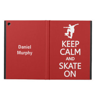 Keep Calm & Skate On custom name & color cases iPad Air Cases