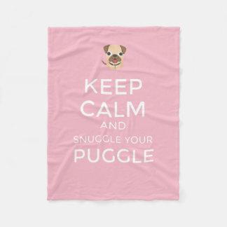 Keep Calm & Snuggle Your Puggle - Custom BLANKET