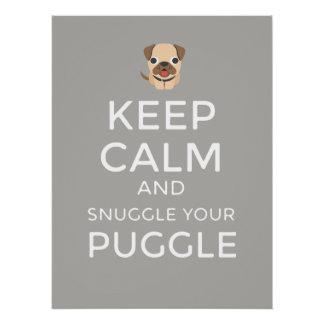 Keep Calm & Snuggle Your Puggle - Custom POSTER