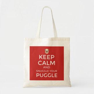 Keep Calm & Snuggle Your Puggle TOTE BAG Customise