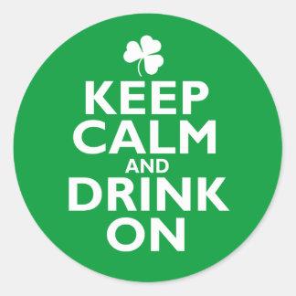 Keep Calm St Patricks Day Humor Round Sticker
