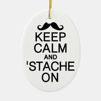 Keep Calm & 'Stache On ornament, customize Christmas Ornament