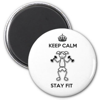 Keep Calm Stay Fit Round Magnet