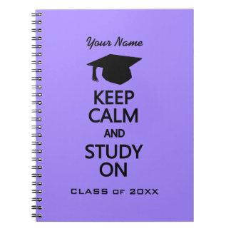 Keep Calm & Study On custom color notebook