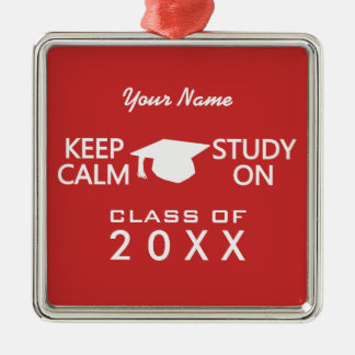 Keep Calm & Study On custom color ornament