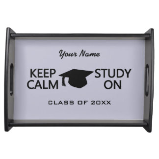 Keep Calm & Study On custom color serving tray