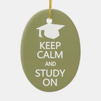 Keep Calm & Study On custom ornament
