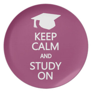 Keep Calm & Study On custom plate