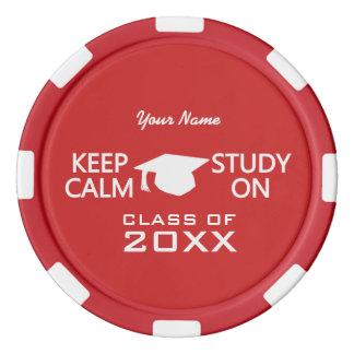 Keep Calm & Study On custom poker chips
