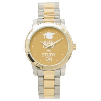 Keep Calm & Study On custom watches