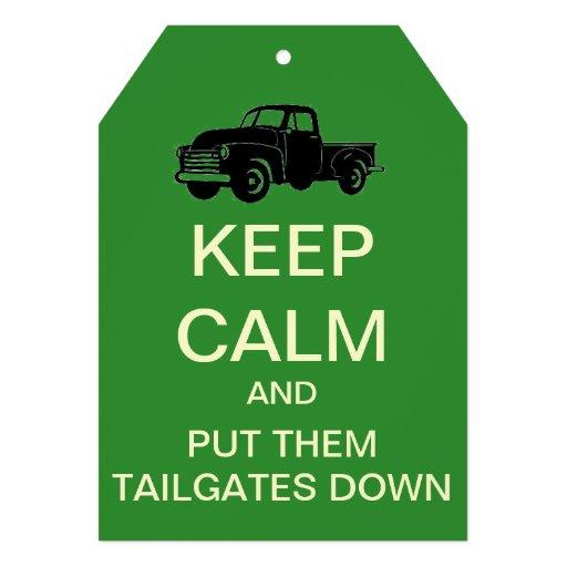 Keep Calm Tailgate Party Custom Invitation