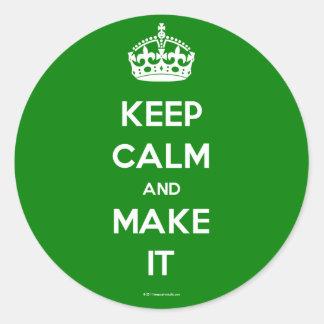 keep calm template generated round sticker