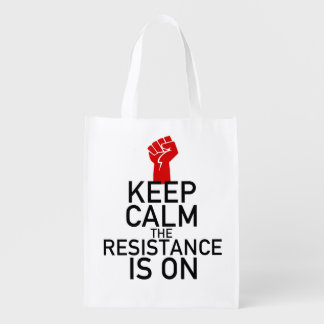 Keep Calm the Resistance is On Reusable Grocery Bag