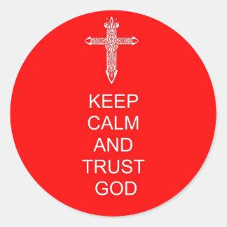 Keep Calm Trust God Classic Round Sticker