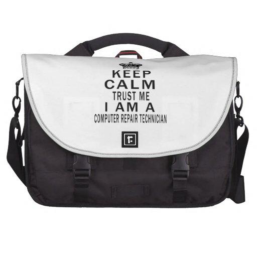 Keep Calm Trust Me I Am A Computer repair technici Laptop Commuter Bag