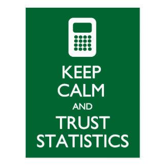 Keep Calm Trust Statistics postcard