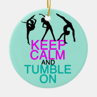 Keep Calm Tumble On Gymnastics Round Ceramic Decoration