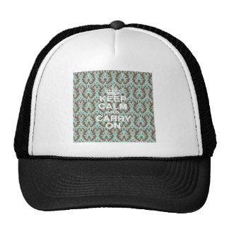 Keep Calm Turquoise and Chocolate Brown Cap