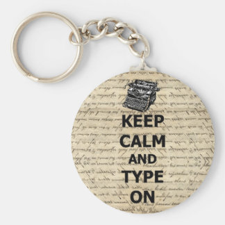 Keep calm & type on basic round button key ring