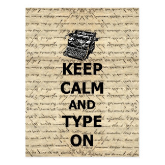 Keep calm & type on postcard