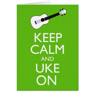 Keep Calm Uke On (Shamrock) Card