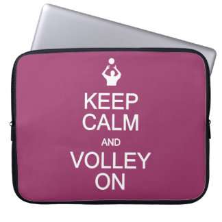 Keep Calm & Volley On custom color laptop sleeve