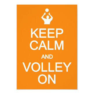 Keep Calm & Volley On invitation, customize Card