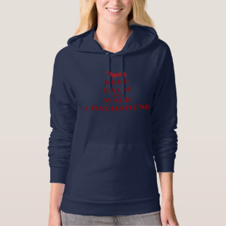 Keep Calm & Walk a dachshund dog fun womens fleece Hoodie