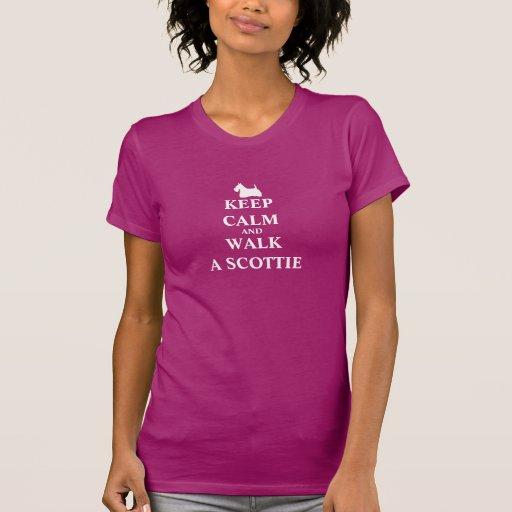 Keep Calm & Walk a Scottie humour womens t-shirt
