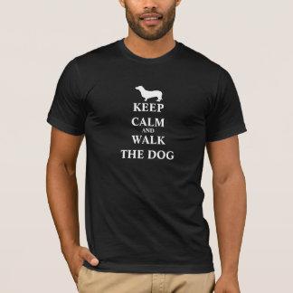 Keep Calm & Walk the Dog fun humour mens t-shirt