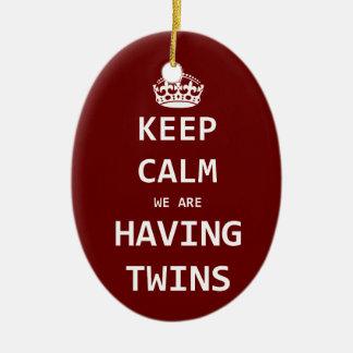 Keep Calm we are having twins Christmas Ornament