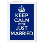 KEEP CALM we're JUST MARRIED (Blue) Cards