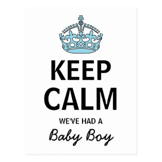Keep Calm We've Had A Baby Boy, Baby Announcement Postcard
