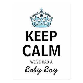 Keep Calm We've Had A Baby Boy, Baby Announcement Postcard